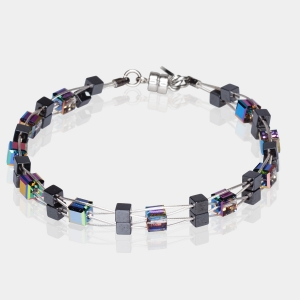 Woven Bracelet With Swarovski Multicolored Crystals and Hematite Beads Silver-plated stainless steel