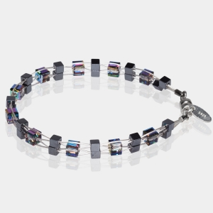 Woven Bracelet With Swarovski Multicolored Crystals and Hematite Beads Hematite