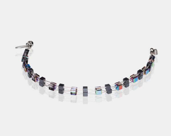 Woven Bracelet With Swarovski Multicolored Crystals and Hematite Beads