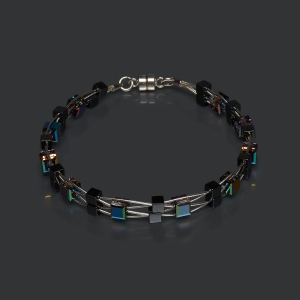 Woven Bracelet With Swarovski Multicolored Crystals and Hematite Beads Magnetic clasp