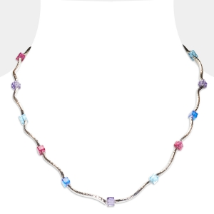 Curved Silver Necklace With Swarovski Crystals Swarovski crystals