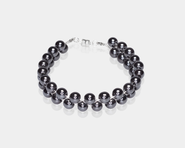 Bracelet With Hematite Beads Silver-plated stainless steel