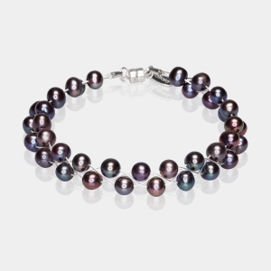 Bracelet With Black Pearls Silver-plated stainless steel