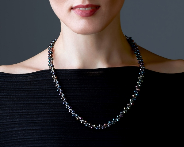 Necklace With Black Pearls Silver-plated stainless steel