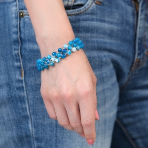 Silver Bracelet With Blue Agate Agate