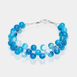Silver Bracelet With Blue Agate Magnetic clasp