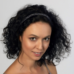 Silver Headband With Black Agate Silver-plated stainless steel