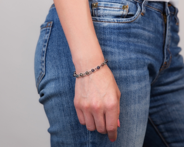 Silver Bracelet With Black Pearls & Swarovski Crystals Freshwater pearls