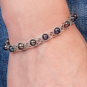 Silver Bracelet With Black Pearls & Swarovski Crystals Silver Black Grey