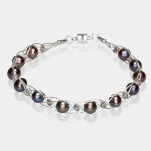 Silver Bracelet With Black Pearls & Swarovski Crystals Silver-plated stainless steel
