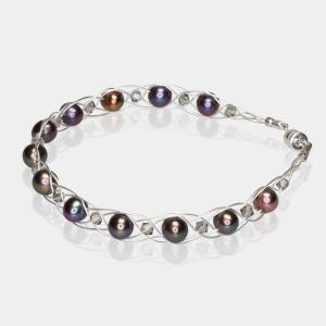 Silver Bracelet With Black Pearls & Swarovski Crystals Swarovski crystals