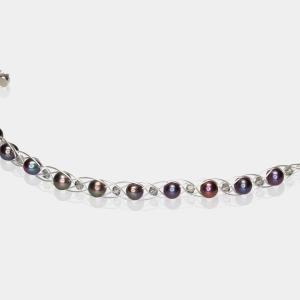 Silver Bracelet With Black Pearls & Swarovski Crystals