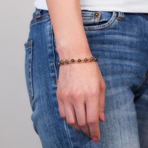 Gold Bracelet With Black Pearls & Swarovski Crystals Freshwater pearls