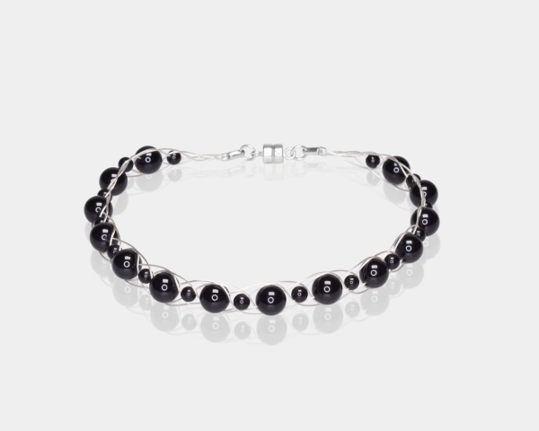 Silver Bracelet With Black Agate Silver-plated stainless steel
