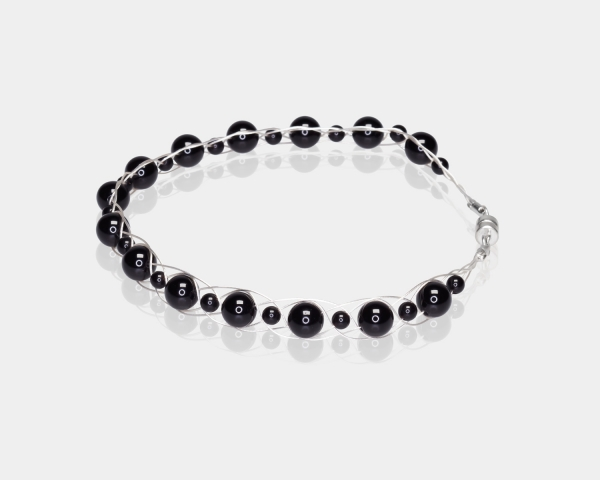 Silver Bracelet With Black Agate