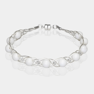 Silver Bracelet With White Agate & Swarovski Crystals Silver-plated stainless steel