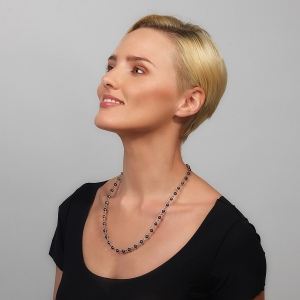 Silver Necklace With Black Pearls & Swarovski Crystals Silver-plated stainless steel