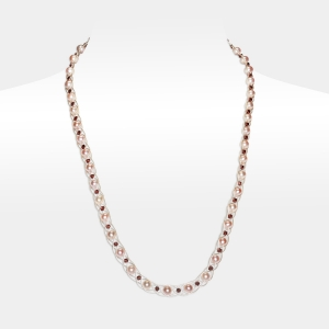 Silver Necklace With Pink Pearls Freshwater pearls