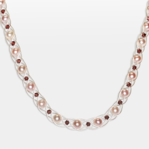 Silver Necklace With Pink Pearls Jewelry,Necklaces