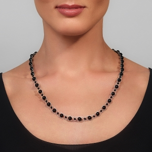 Silver Necklace With Black Agate Silver-plated stainless steel