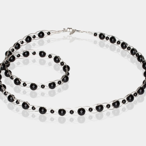 Silver Necklace With Black Agate Swarovski crystals