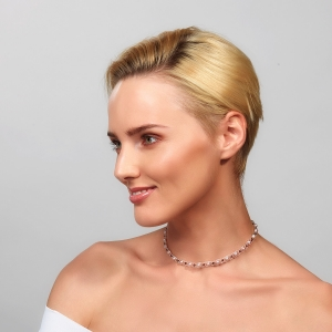 Silver Choker With Pink Pearls Silver-plated stainless steel