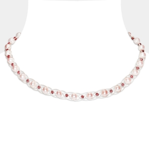 Silver Choker With Pink Pearls Freshwater pearls