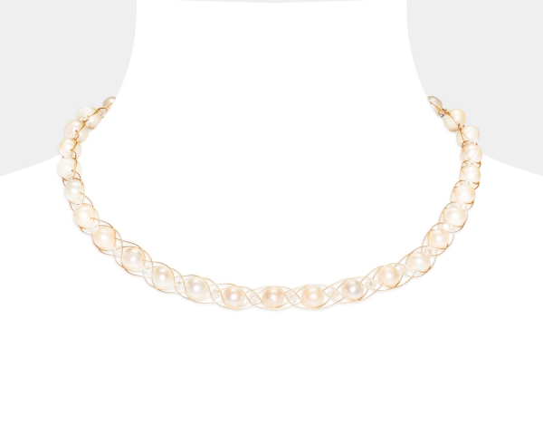Gold Choker With White Pearls & Swarovski Crystals Freshwater pearls