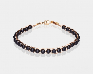 Gold Bracelet with Black Onyx Gold-plated stainless steel