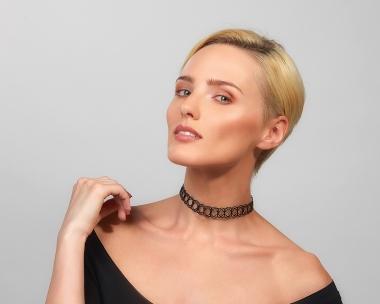 Black Steel Woven Choker Necklace