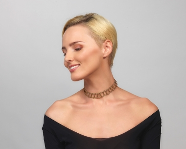 22k Gold Plated and Black Steel gold choker Necklace Jewelry,Choker