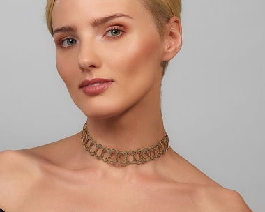 22k Gold Plated and Black Steel gold choker Necklace Black stainless steel