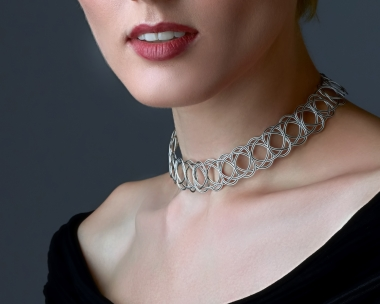 Sterling Silver Plated  and Black Steel Woven Choker Necklace Jewelry,Choker