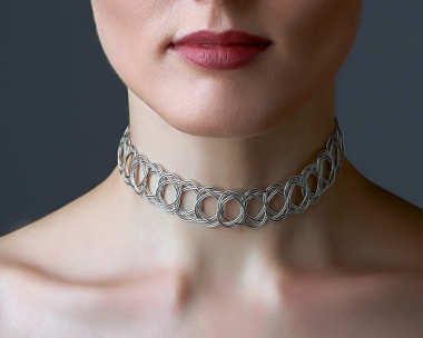 Sterling Silver Plated  and Black Steel Woven Choker Necklace Silver-plated stainless steel