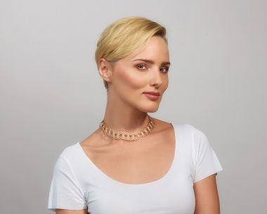 22k Gold and Sterling Silver Plated Steel Woven gold choker Necklace Jewelry,Choker