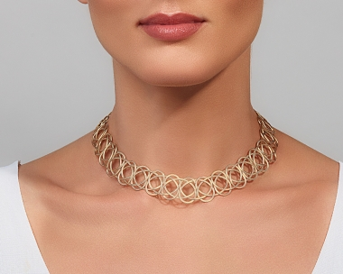 22k Gold and Sterling Silver Plated Steel Woven gold choker Necklace Gold-plated stainless steel