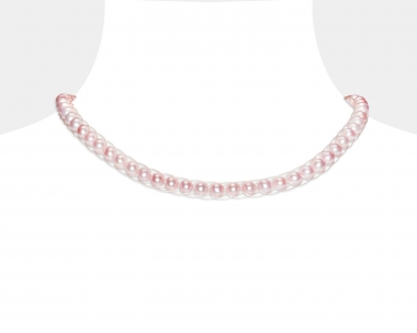 Freshwater Pink Pearl Silver Choker Magnetic clasp