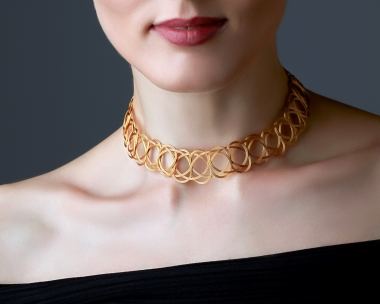 22k Gold Plated Steel Woven gold choker Necklace Jewelry,Choker