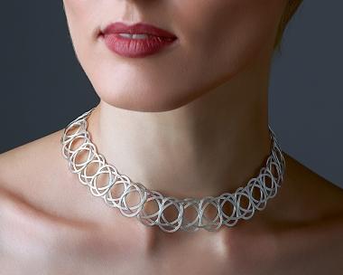 Sterling SilverPlated Steel Woven Choker Necklace Jewelry,Choker