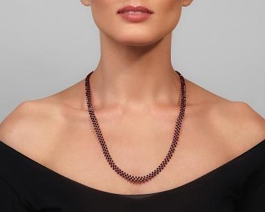 Jeweled Necklace with Ruby Swarovski Crystals Jewelry,Necklaces