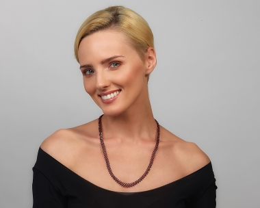 Jeweled Necklace with Ruby Swarovski Crystals Silver-plated stainless steel