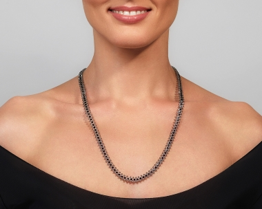 Jeweled Silver Necklace With Grey & Black Swarovski Crystals Silver-plated stainless steel