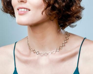 Sterling Silver Geometric Diamond Shape Choker Jewelry,Choker