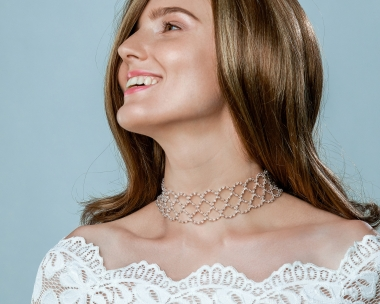 Wide Silver Swarovski Crystal Choker Silver-plated stainless steel